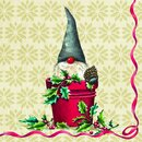 IHR TOMTE IN THE BUCKET Lunch-Servietten 33 x 33 cm creme